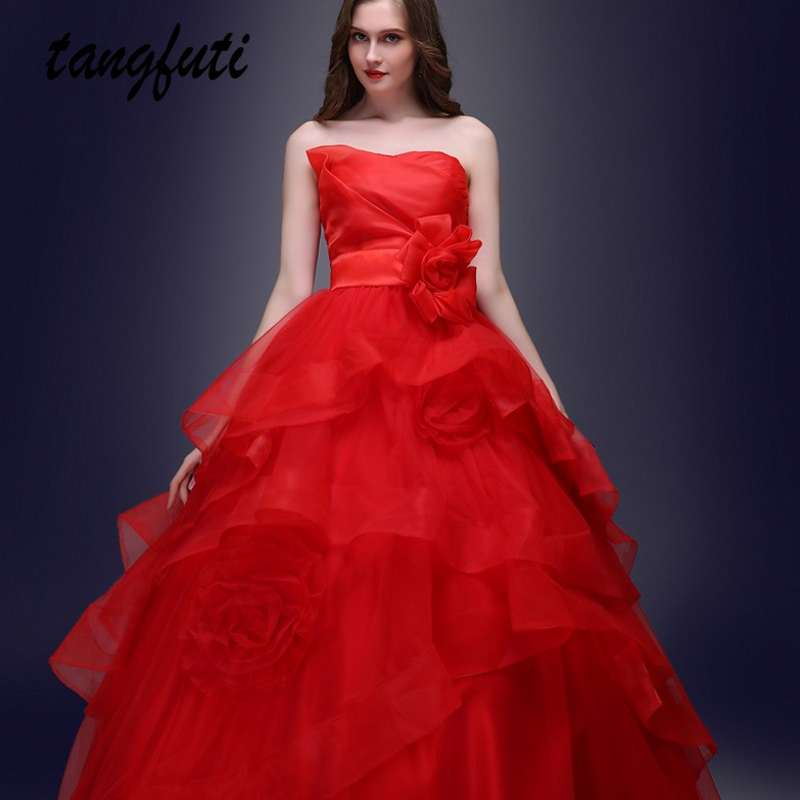 Red Ball Gown Wedding Dresses Long Strapless Lace Up Bridal Dress Custom Organza Princess Ruffles Tiered Women Wedding Gowns