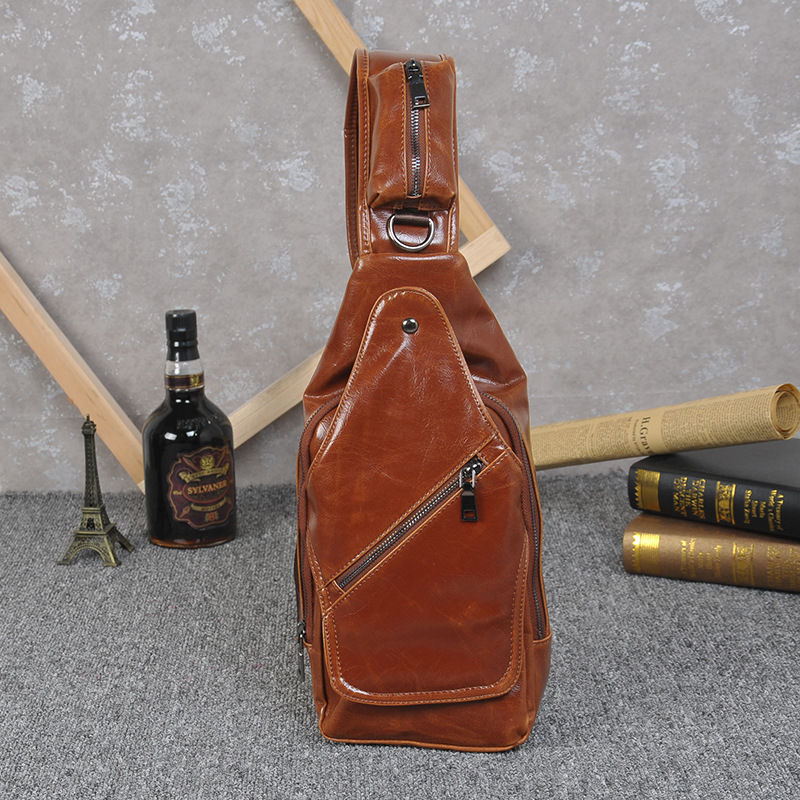 YULYYE High Quality Fashion Men Chest Bags Men Convenient Bags Multifunction Rucksack Shoulder Strap BackBag Leather Travel Bag