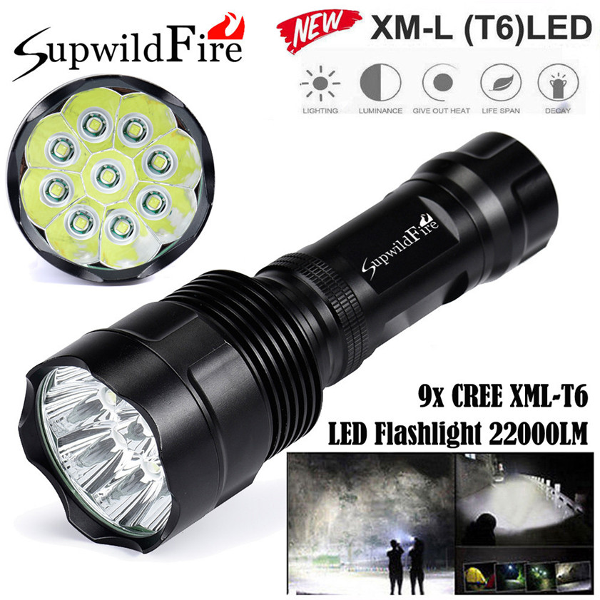 Super Bright 22000Lm 9x CREE XM-L T6 LED 5Mode 18650 Flashlight Torch Light Lamp 170509 cree xm l t6 bicycle light 6000lumens bike light 7modes torch zoomable led flashlight 18650 battery charger bicycle clip
