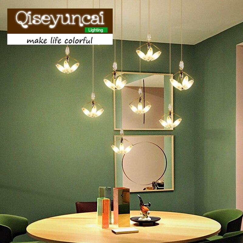 Qiseyuncai Nordic designer fish line type acrylic art led chandelier postmodern simple line personality restaurant lighting taiwan sec 1 line type electric scissors simple type