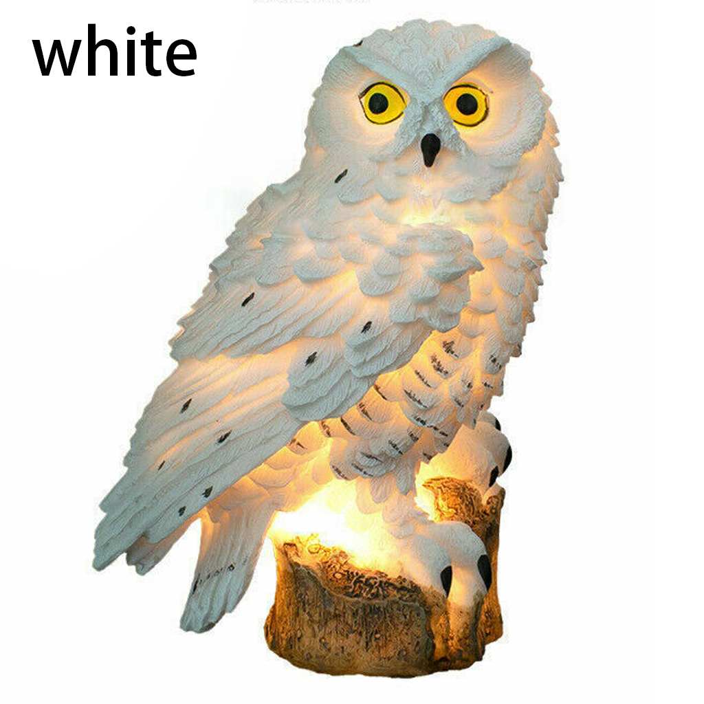 LED Solar Light White Owl Lawn & Garden For Outdoor Yard Garden Street Road Lighting Decoration Lamp Keep Birds & Squirrels Away