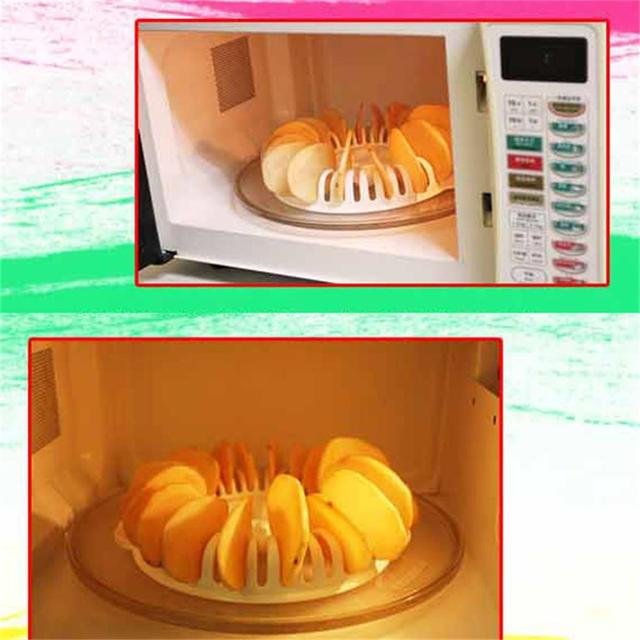 DIY Low Calories Microwave Oven Fat Free Potato Chips Maker Baking & Pastry Tools Chips Rack kitchen Tools Freeshipping  2