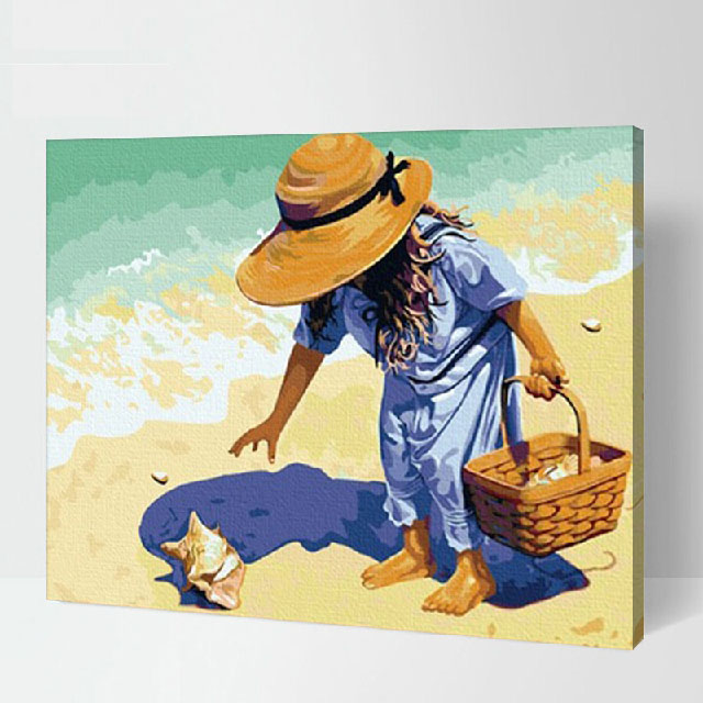 Beach combing Frameless 40x50cm Pictures Painting By Numbers DIY Digital Oil Painting On Canvas Home Decoration