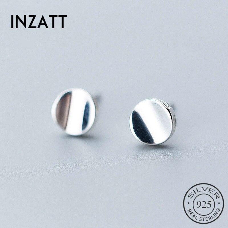 INZATT OL Minimalis Stud Earrings Geometric Glossy Concave Round Charm 925 Sterling Silver For Women FINE  Jewelry Summer Gift