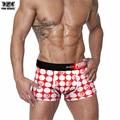 Pink hero marca de ropa interior sin costuras para hombre sexy ropa interior de los hombres clásicos de algodón de impresión más el tamaño de franja calzoncillos bragas del boxeador de sexo masculino