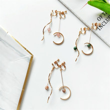 Japanese and Korean Earrings Accessories Origins Factory Curve Semi-Circular Asymmetric Earrings Long Ear Tassel-Free Ear Clip