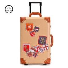 KUNDUI woman Vintage 2 wheels trolley travel Business luggage, retro korea fashion pu suitcase bag, 20 22 24 inch Men box case