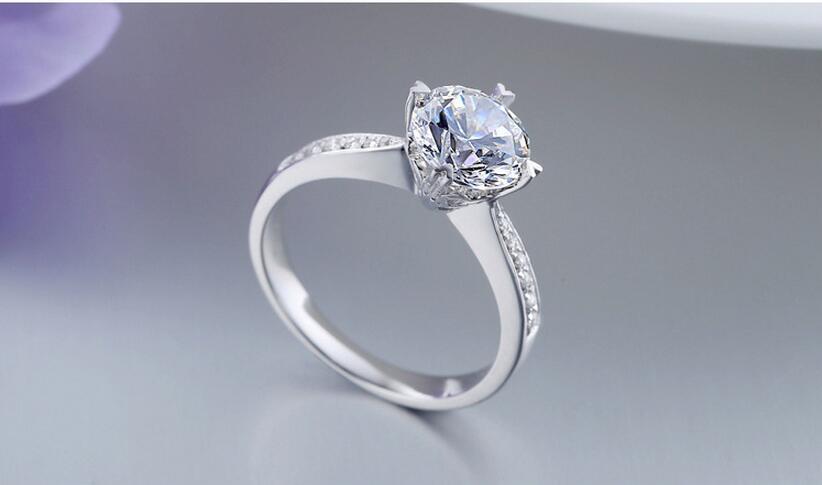 Argent pur 1.5 Carat haute teneur en carbone Diamant synthétique anniversaire mariage argent S925 bagues (JSA) - 4