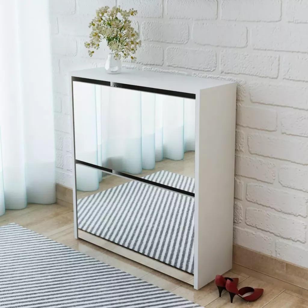 VidaXL 2-Layer Shoe Cabinet Mirror 63x17x67 Cm Shoe Organizer White Shoes Storage Cabinet Easy Assembly Shoe Rack Furniture V3