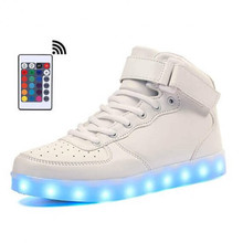 LED Shoes Mens White Color High Top Remote Control for Women Light Up Kids Led Luminous tenis infantil Unisex