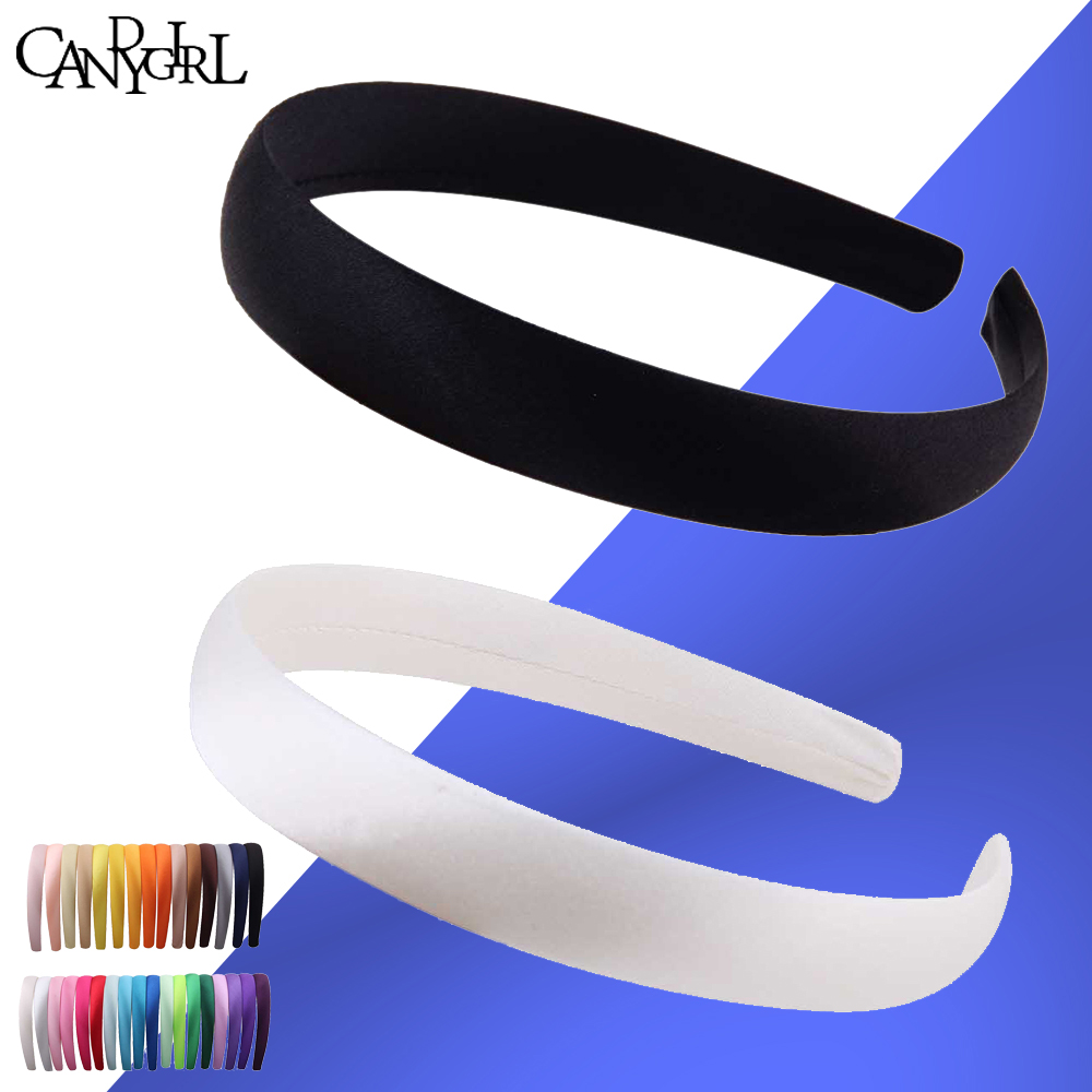 1pc 1.5cm 2cm DIY Headband Ribbon Hairband Women Covered Hair Accessories Multicolor Headpieces Satin Jewelry boho   Headwear