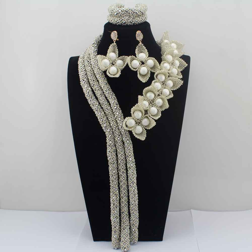2019 Surprising Silver Flower African Costume Jewelry Sets Nigerian Wedding Beads Bridal Necklaces Earrings Free Shipping