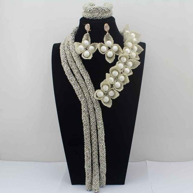 2017 Surprising Silver Flower African Costume Jewelry Sets Nigerian Wedding Beads Bridal Necklaces Earrings Free Shipping