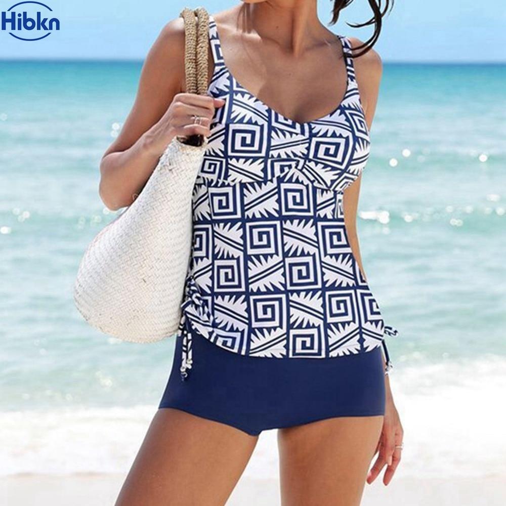 Hibkn 2018 Print Tankini XL Plus Size Swimwear Sport Beach Tankini Push Up Swimsuit Sports Trikini Print Two Pieces Swimsuit
