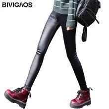 5a04ba97fee10 BIVIGAOS женские зимние теплые толстые бархатные леггинсы из искусственной  кожи Леггинсы в готическом стиле брюки в стиле панк-р.