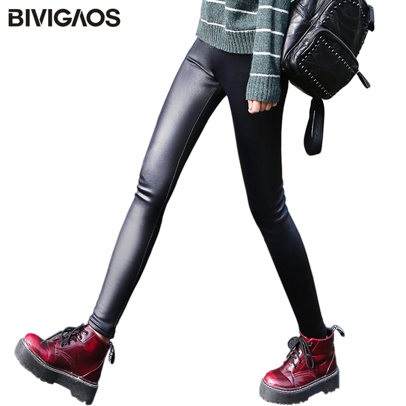BIVIGAOS Ladies Winter Warm Thick Velvet Faux Leather   Leggings   Gothic   Legging   Pants Punk Rock Slim Skinny Pencil Pants For Women