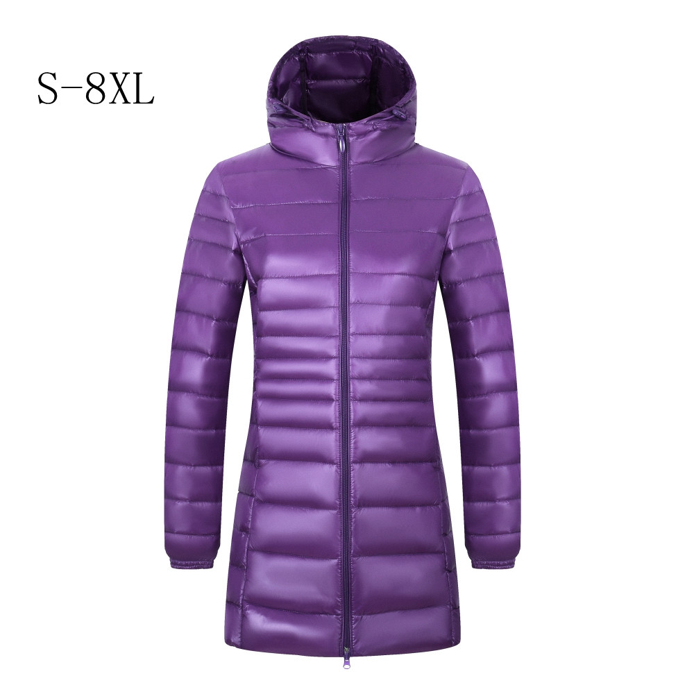 New 2019 Brand 6XL 7XL 8XL Plus Size   Down     Coat   Female Long Winter Ultra Light   Down   Jacket Women Hooded Feather Jacket Warm   Coat