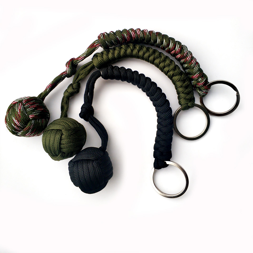 Outdoor Security Protection Black <font><b>Monkey</b></font> <font><b>Fist</b></font> <font><b>Steel</b></font> <font><b>Ball</b></font> For Girl Bearing Self Defense Lanyard Survival Key Chain Broken Windows image