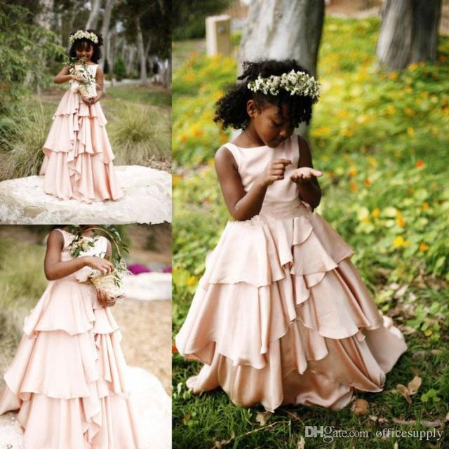 2017 New Pretty Blush Pink Flower Girl Dresses For Weddings Ruffles