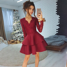 Women Sexy Lace Patchwork V Neck Elegant Dress Ladies Long Sleeve Winter Party Club Vintage 2018 Fashion Mini