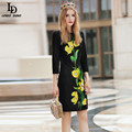 Slim Black Dress Autumn New Women 3/4 Sleeve  Florid Embroidery Dress Vestidos