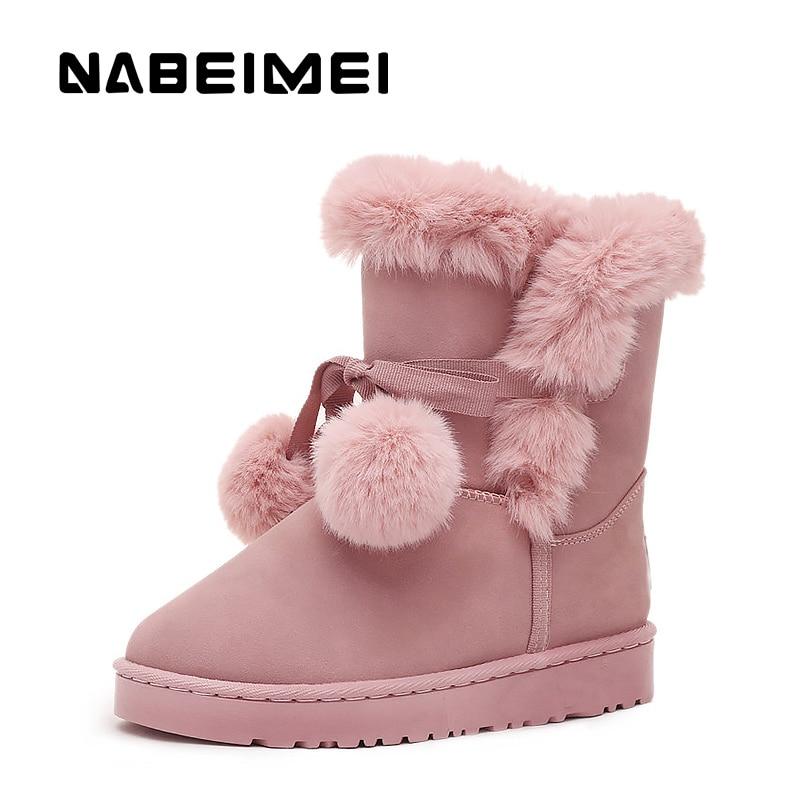 Hiver Cachemire pink Chaudes De Nouvelles Femme Fourrure Marée Bottes Black Chaussures Plus Fausse Femmes En gray Neige 2018 UwqaEzRP