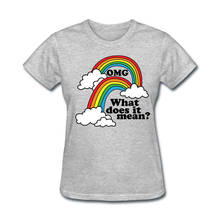New Fashion T Shirt Graphic Letter Short O-Neck Compression Womens What Does It Mean Printing Double Rainbow Shirts