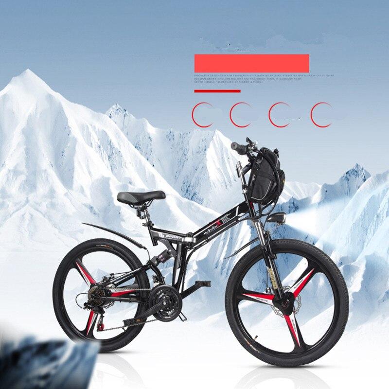26 pulgadas bicicleta eléctrica 48V. 10.8AH batería de litio eléctrica de la bici de montaña rueda integrada 350 W bicicleta plegable eléctrica