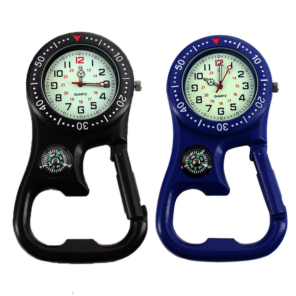 Motion Neutral Outdoor Luminous Compass Bottle Opener Backpacker Fob Clip-On Carabiner Watch Daily Waterproof Alloy Quartz Watch