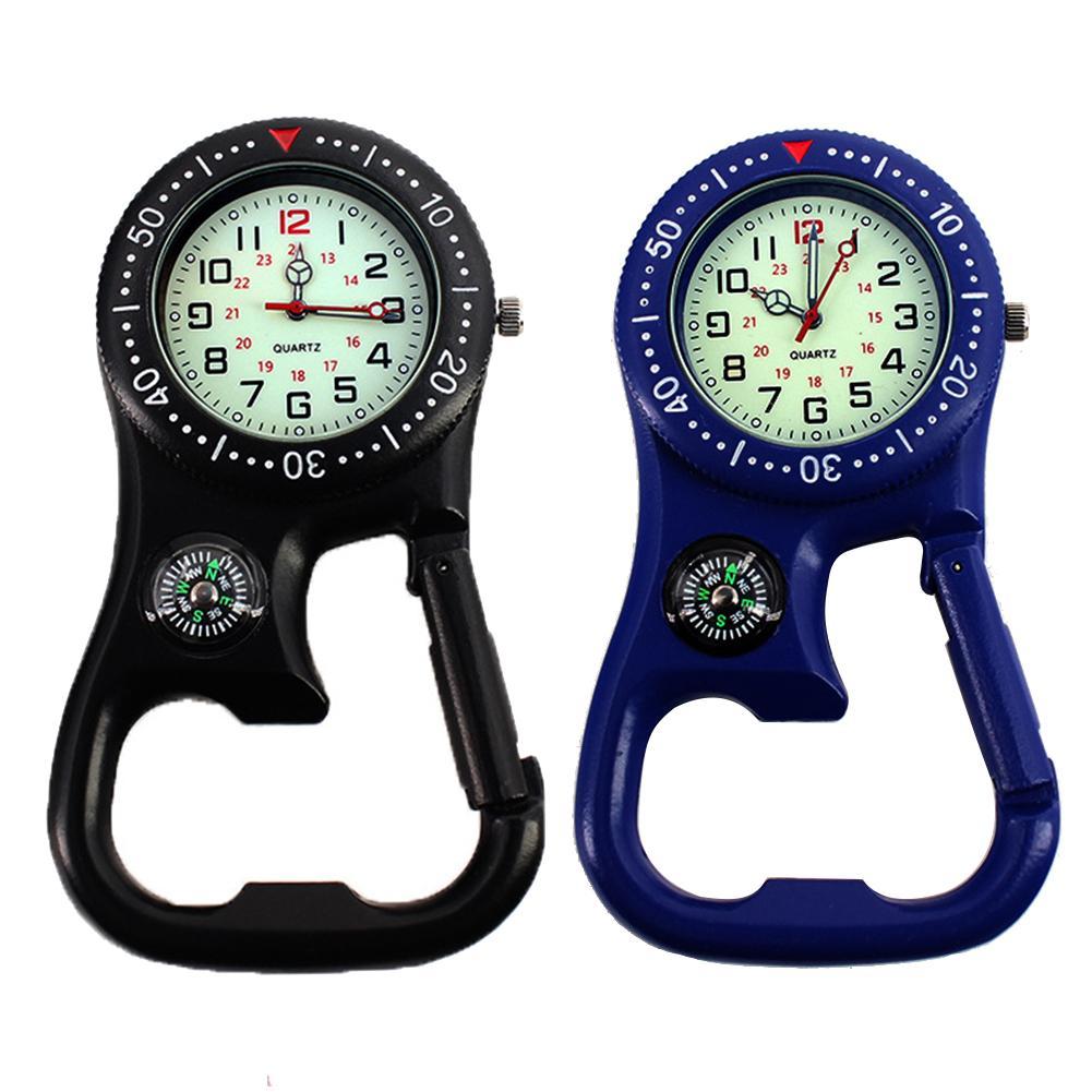 Motion Neutral Outdoor Luminous Compass Bottle Opener Backpacker Fob Clip-On Carabiner Watch Daily Waterproof Alloy Quartz Watch
