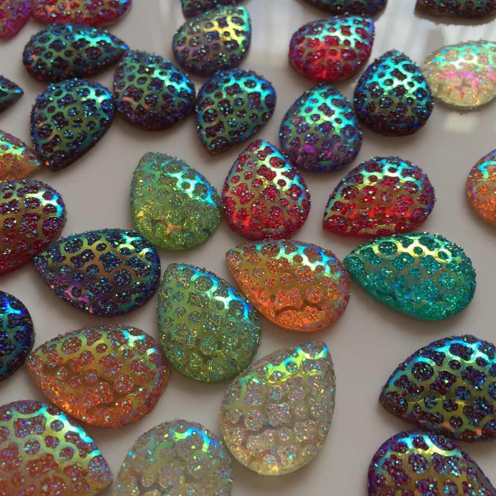"""15 יחידות מעורב צבע שרף Teardrop צורת זהב קו משטח 18X25 מ""""מ ריינסטון לבגדים תכשיטי כפתור חתונה שמלת Accessorie"""