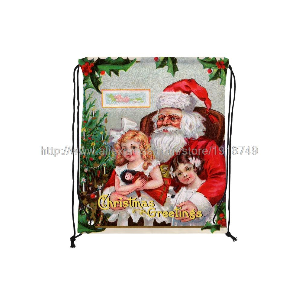 four pcs/lot father christmas with childern greeting printed custom drawstring bag xmas decoration ornament shopping bags