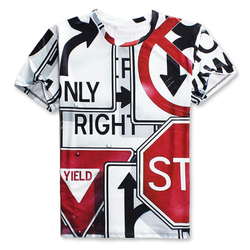 2016 New Men s Street Fashion 3D Printed T shirts Summer Short Sleeve Funny  Road Signs Graphic Tees Homme Camisetas Masculina -in T-Shirts from Men s  ... 76dc41f1f