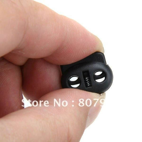 Черный Пластик Bean переключает замок шнур 2 отверстия cordlock