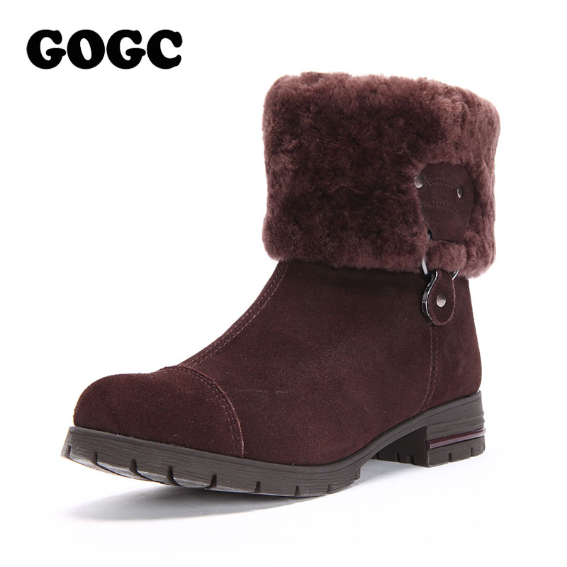 GOGC 100% Genuine Leather Women Winter Shoes with Fur Wool Big Size Mid Calf Boots Ankle Boots for Women 2018 Winter Boots Women
