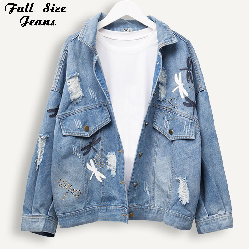 Plus Size Boyfriend Loose Ripped Embroidery Women Denim Jackets 3Xl 4Xl 5Xl Spring Streetwear Jeans   Coat   Girl