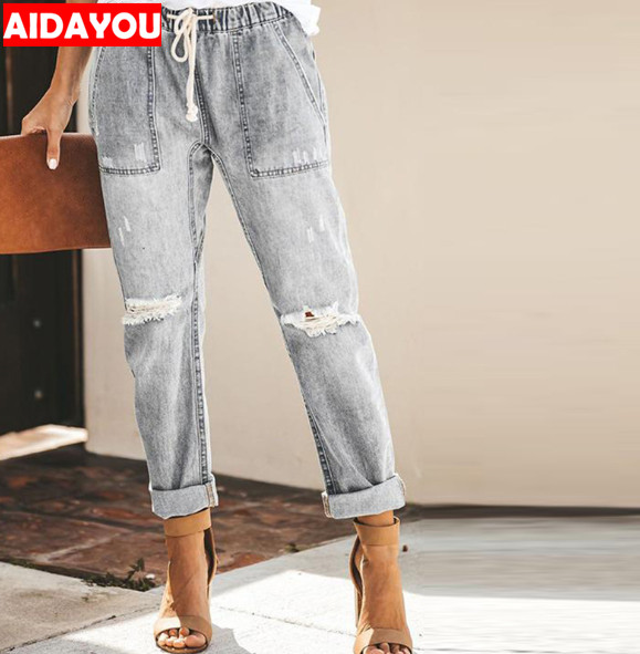 Womens Ripped Boyfriend Jeans Fashion Loose Vintage High Waisted Jeans Mom Plus Size Pantalones Mujer Vaqueros ouc518a in Jeans from Women 39 s Clothing