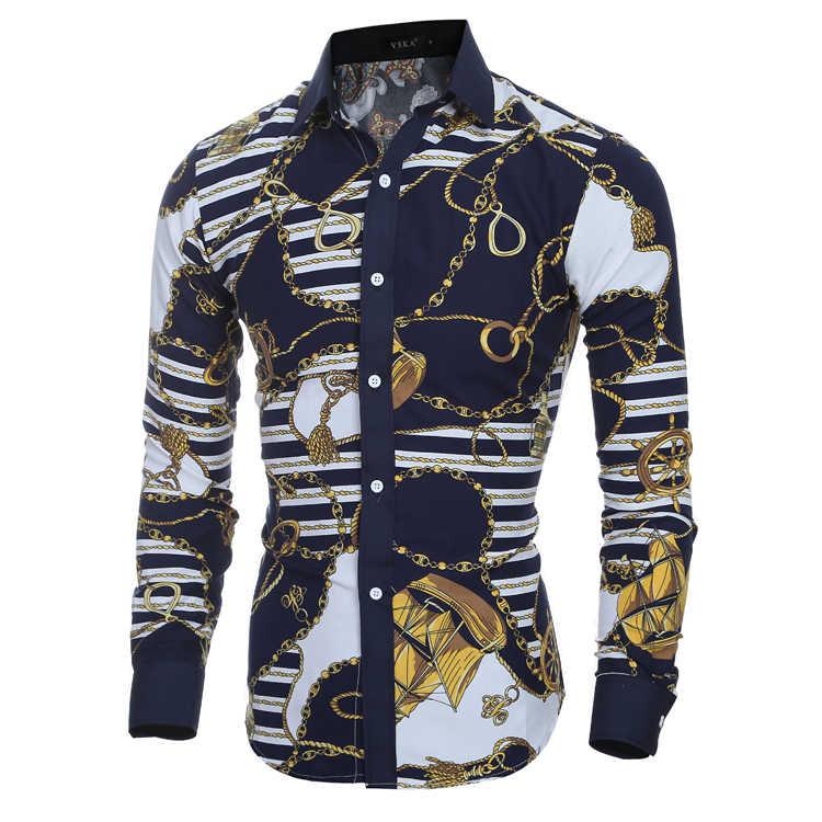Мужская рубашка с цветочным принтом 2019 Новая Осенняя модная повседневная приталенная гавайская рубашка с 3D принтом Camisa Masculina Chemise Homme