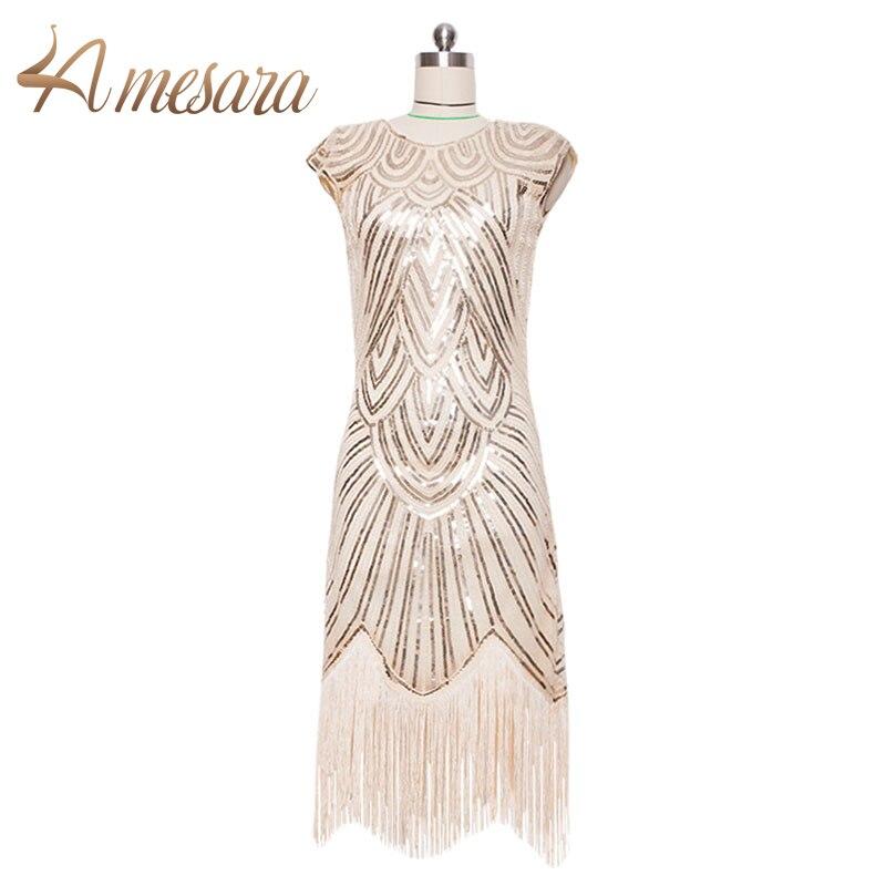 Franjas Grande Gatsby Flapper Vestido das mulheres dos anos 1920 Retro Borla Crochê Midi Party Dress -- 59002