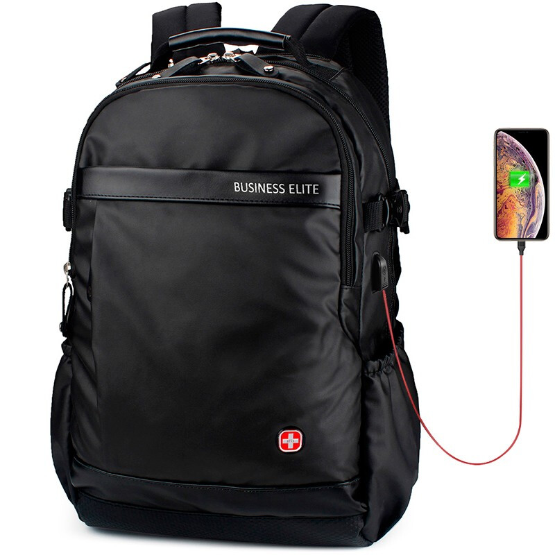 Sac à dos pour ordinateur portable en nylon 17 pouces en cuir suisse sac à dos multifonctionnel pour homme sac à dos pour homme sac à dos pour femme à l'école