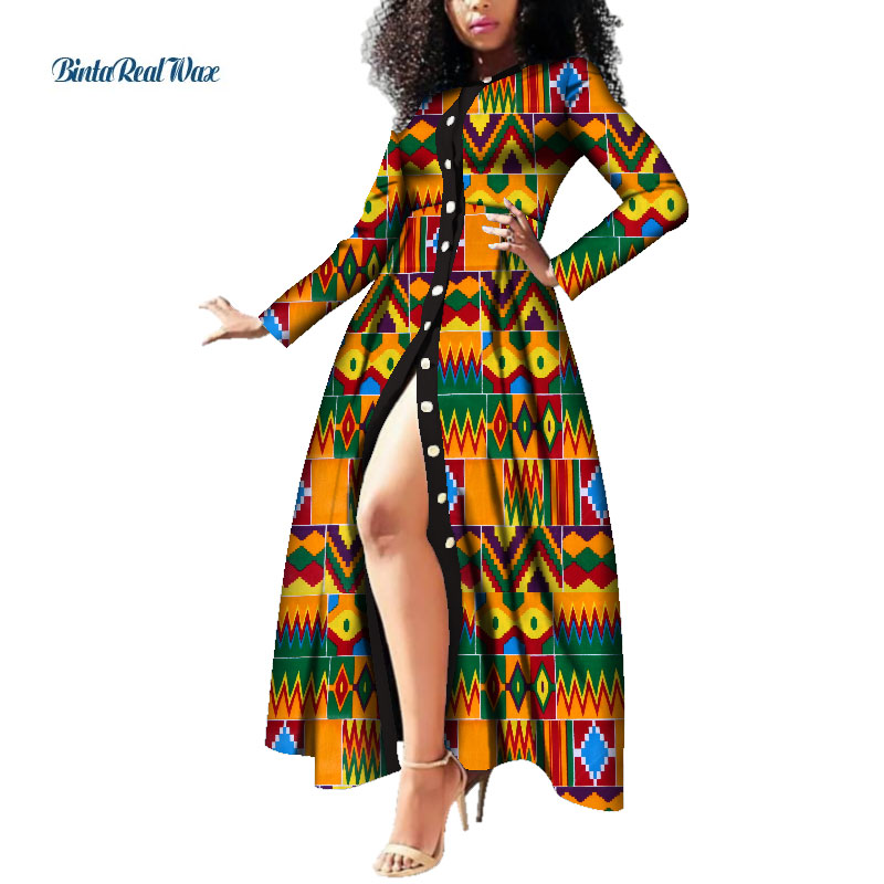 African Dresses For Women Wax Print Button Long Dresses Vestido Bazin Riche Dashiki Women African Design Clothing WY3785