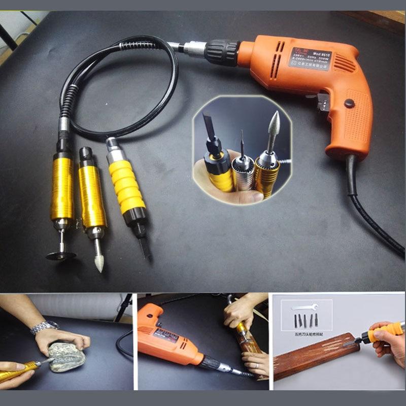 Stelo a mano elettrico + Asta flessibile in metallo + Scalpello - Attrezzature per la lavorazione del legno - Fotografia 6