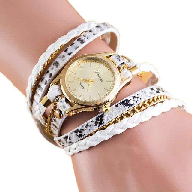 2017 GENEVA New Fashion Wrap Around Bracelet Watch Synthetic Leather Chain Watch