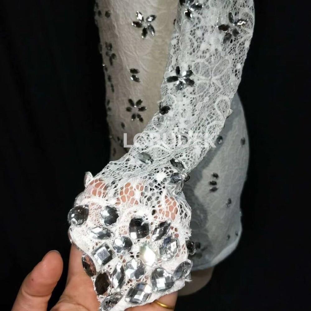 Vestido de diamantes de imitación de plata de un solo hombro Sexy blanco de encaje cristales Mini vestido de club nocturno Singer ropa de fiesta Catwalk DS disfraz - 5