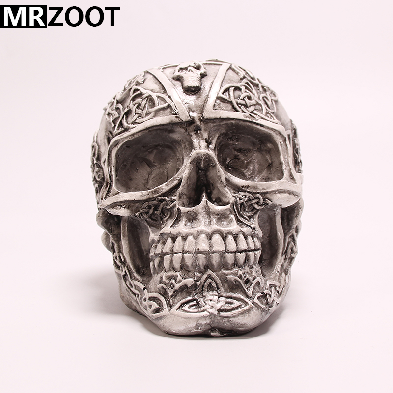 MRZOOT Resin Crafts Punk Gothic Home Decoration or Halloween Personalized Basic Style Carving Skull Sculpture.