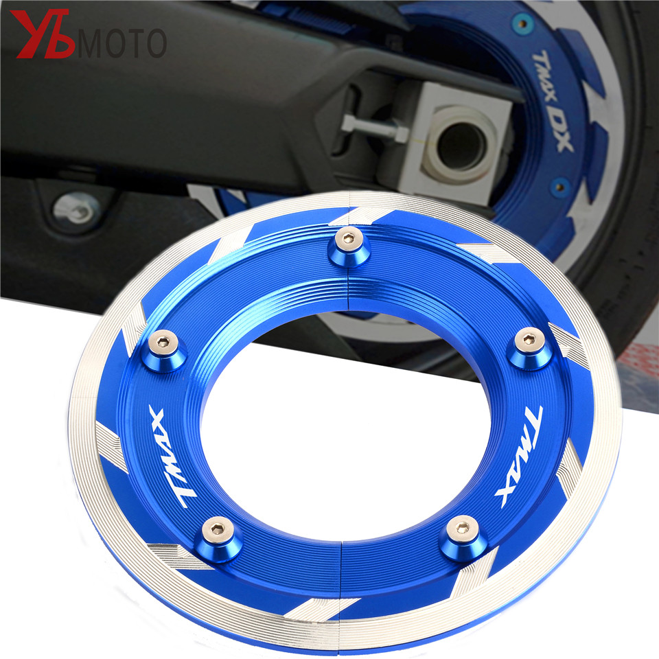 New Creative Modified Scooter Accessories With Logo Blue Transmission Belt Pulley Cover For Yamaha T-MAX 530 TMAX 530 SX DX 2017 for yamaha t max 530 tmax 530 dx t max 530 sx 12 18 t max 500 accessories folding extendable brake clutch levers logo tmax