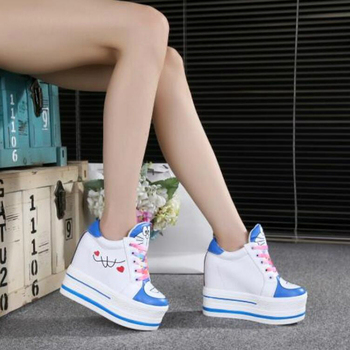 Women Sneakers 2020 Spring Autumn High Heels Ladies Casual Shoes Women Wedges Platform Shoes Female Thick Bottom Trainers  5