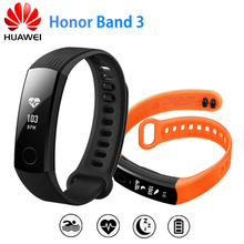 Originais Honra 3 Banda Inteligente Pulseira Swimmable 5ATM Touchpad Tela OLED Monitor de Freqüência Cardíaca Contínua Empurre Mensagem