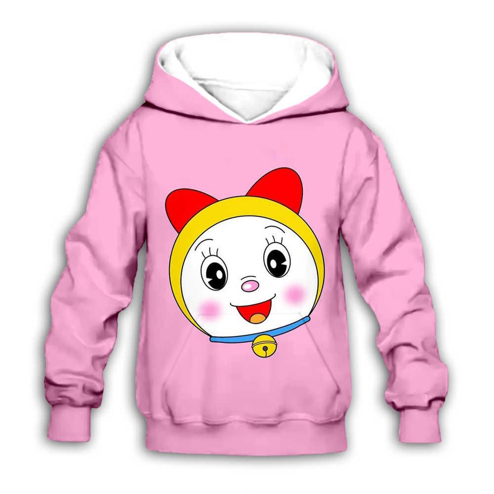 Anak Anak Kawaii Doraemon Dorami Hoo Nobita Nobi 3D Cetak Kartun Anime Sweatshirt Anak Gadis Anak Lucu Kasual Zipper Pullover
