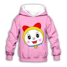 цена на Kids kawaii Doraemon Dorami hoodies Nobita Nobi 3D print Cartoon anime sweatshirt boy girl Children casual cute zipper pullover